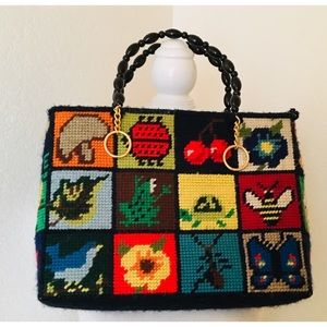 Vintage Embroidered Crosstitch Tote Bag Nature